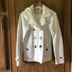 Maurices white pea coat with buttons size medium
